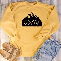 God Is Greater Than The Highs And Lows Christian Sweatshirt Christian Hoodies, Christian Clothing, Christian Apparel, Stylish Outfits, Cute Outfits, Simple Shirts, Shirt Designs, Sweatshirts, Casual