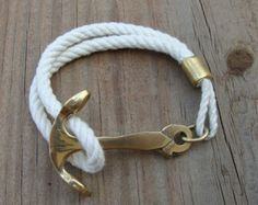 Blue & White Nautical Rope Bracelet with Gold wrap and por Buoy6