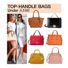 """Under $100: Top-Handle Bags"" by polyvore-editorial ❤ liked on Polyvore featuring Furla, Hush Puppies, Betsey Johnson, Tommy Hilfiger, Dasein, tophandlebags and under100"