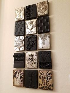 Tile Art, Tiles, Art Deco Wall Art, Lace Painting, Wood Mosaic, Mini Canvas Art, Framed Fabric, Idee Diy, Mosaic Crafts