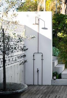 Cabana, Outdoor Pool Shower, Custom Shower Doors, Garden Shower, Outdoor Bathrooms, Outdoor Areas, Pool Designs, Native Plants, Backyard Landscaping