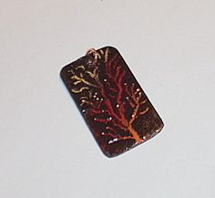 the sunset tree - torch fired enamel pendant