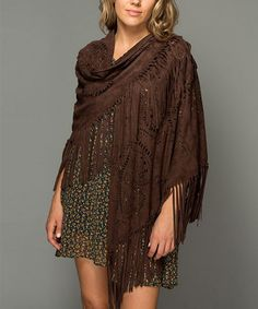 Another great find on #zulily! Coffee Paisley-Cutout Fringe Shawl #zulilyfinds