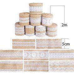 (16M) 8 Rouleaux Ruban de Jute avec Dentelle Blanche Accessoire Bordure Vintage pour Couture Artisanat Deco de Mariage: Amazon.fr: Cuisine & Maison