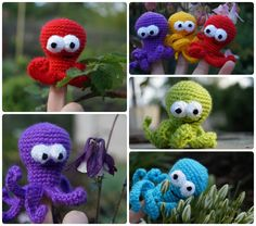 Octopus finger puppets  There are handmade finger puppet Octopus for kids. There are adorable set of toys. They are crocheted from acrylic yarn and filled with fyberfill.   Crochet Finger theater of Octopus are great gifts for kids. They are funny and amazing. Game with this amigurumi toys develops children's imagination.  The set of finger puppets includes: - blue; - green; - purple; - yellow; - red.