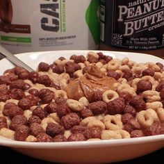 Peanut butter & chocolate cereal in chocolate protein powdered almond milk