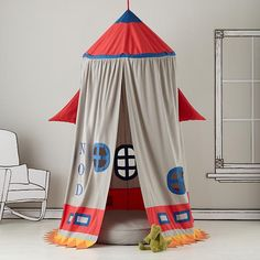 Kids Play Tents: Rocket Ship Play Tent in Playroom Furnishings - for kiddo's big boy room reading nook Indoor Tents, Indoor Playhouse, Indoor Tent For Kids, Home Rocket, Diy Rocket, Outer Space Bedroom, Space Theme Bedroom, Outer Space Theme, Bedroom Colors
