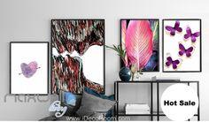 Purple Heart Pink Leaf Butterfly Canvas Prints Wall Decals Art Decor Unframed IDCCV-BO-000213