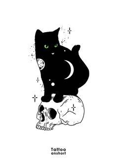 Tattoo Sketches, Tattoo Drawings, Art Sketches, Art Drawings, Tattoo Gato, Wallpaper Gatos, Black Cat Tattoos, Cat Tattoo Designs, Witch Art