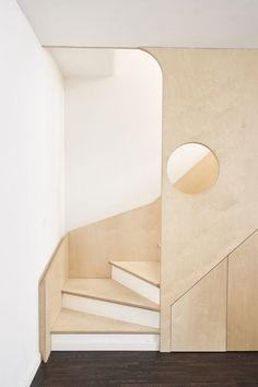 Get interior design inspiration and interior decorating ideas from Brian Paquette Interiors, a Seattle interior design firm. Plywood Interior, Interior Stairs, Interior Architecture, Interior And Exterior, Interior Design Inspiration, Decor Interior Design, Interior Decorating, Spiral Staircase, Staircase Design