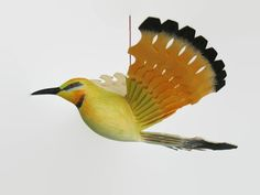 Hand Carved Bird Mobile, Rainbow Bee Eater Wood Carving, Handmade Fan Bird Folk Craft, Anniversary Gift Woodwork, Woodland Bird Mobile Art by MyFanbirds on Etsy