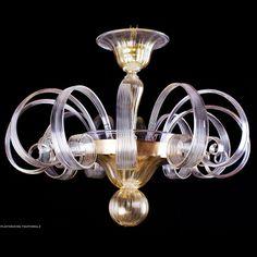 Plafoniera in vetro di Murano Pastorale color cristallo oro.  #muranoglass #vetro #murano #muranolampstore #gold #ceilinglight #glassblown