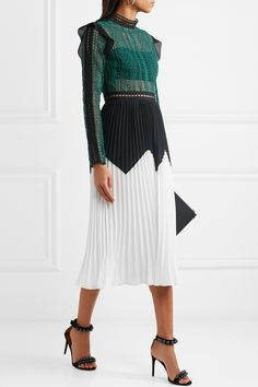SELF-PORTRAIT Georgette-trimmed guipure lace and pleated crepe midi dress