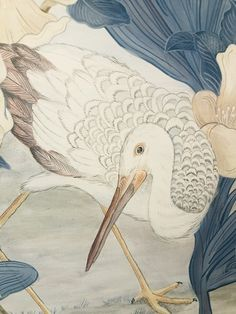 """""""The Coast is Clear"""" blue Chinoiserie coastal art • Allison Cosmos For You Blue, Spanish Moss, Chinoiserie Chic, Coastal Art, Tropical Leaves, Beautiful Birds, Cosmos, Art Reference, Moose Art"""
