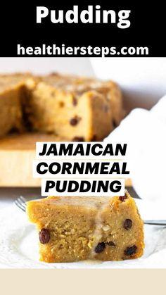 Gluten Free Desserts, Vegan Desserts, Delicious Desserts, Vegan Recipes, Dessert Recipes, Caribbean Recipes, Caribbean Food, Jamican Recipes, Cornmeal Pudding