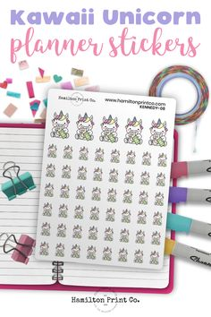 Kawaii unicorn planner stickers printed on the finest matte sticker paper known to man! Perfect for reminding you to pay your bills on time. Best Planners, Planner Supplies, Small Shops, Bullet Journals, Erin Condren, Art Market, Journal Inspiration, Sticker Paper, As You Like