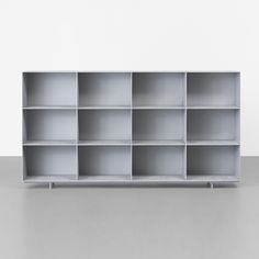 Lot 151: Maarten van Severen. KL95 bookcase. 1995, polished and waxed extruded aluminum. 78½ w x 13 d x 42 h in. result: $26,250. estimate: $5,000–7,000. Provenance: Collection of Michael Maharam, New York.