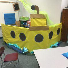Reading nook submarine made out of a Walmart pumpkin box