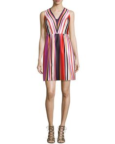 TCWH5 Phoebe Couture Printed Striped V-Neck Satin Dress, Red Multi