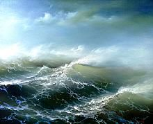 Sergey Lim The Perfect Storm - oil, canvas Seascape Paintings, Landscape Paintings, No Wave, Sea Storm, Ocean Scenes, Sky Painting, Wave Art, Sea Waves, Sea And Ocean