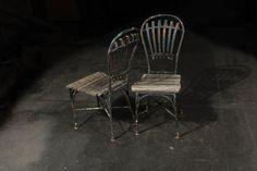 Two Iron and Wood Garden Chairs in Beautiful Aged Condition, circa 1860