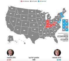 Clinton wins:  Massachussetts New Jersey Maryland Rhode Island Delaware Washington D.C. to Clinton