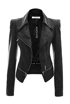 b62f0f35825 ANGVNS Chaqueta cazadora biker Jacket de cuero sintético para mujer Pu  Leather