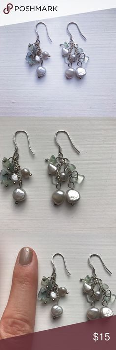 Moss green & pearl stone dangle drop earrings Dangly drop earrings made with a cluster of moss green, pale blue, and gray pearly stones. These earrings measure 1.75 inches tall and are in great condition! Perfect neutral earrings to wear to work or to a dressy, fancy occasion! Jewelry Earrings