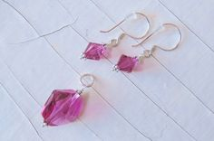 Pink Earring Pendant Set made with Sterling by CreativeWorkStudios