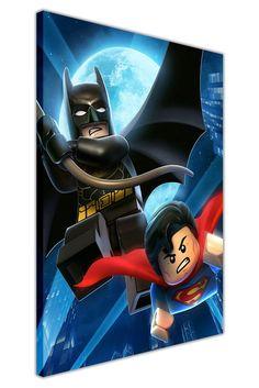 PORTRAIT DC COMICS LEGO SUPERMAN AND BATMAN CANVAS WALL ART PICTURES POP ART PRINTS ROOM DECORATION SUPERHERO POSTER: Amazon.co.uk: Kitchen & Home