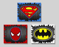 Super Hero Art Prints Set of 3 8x10's Spiderman Superman and Batman Wall Art. $16.50, via Etsy.