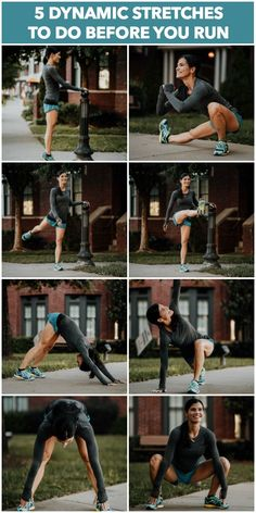 Workout Exercise 5 Dynamic Stretches You Should Do Before Every Run to Prevent Injuries - Five dynamic stretches that you should do before every run to warm up your body and help prevent injuries. Stretches Before Running, Running Workouts, At Home Workouts, Pre Run Stretches, Running Humor, Stretches For Shin Splints, Running Hacks, Nike Workout, Workouts For Runners Training