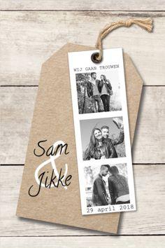 Super leuke trouwkaart met hout ondergrond, kraft label en een hippe fotostrip. Trouwkaart - zelf bewerken - online maken