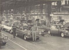 Vintage shots from days gone by! Vintage Cars, Antique Cars, Detroit Cars, Plymouth Fury, Assembly Line, Car Car, Old Cars, Mopar, Cadillac