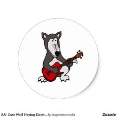 AA- Cute Wolf Playing Electric Guitar Cartoon Classic Round Sticker