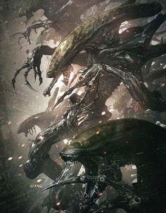Alien Visions Tribute, John Giang on ArtStation at… Alien Vs Predator, Predator Alien, Alien Creatures, Fantasy Creatures, Dark Fantasy, Fantasy Art, Giger Alien, Science Fiction, Dragons