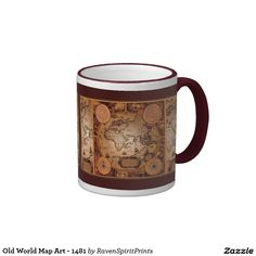 Beautiful world map educational gift travel mug world dr oz old world map art 1481 mug sciox Image collections