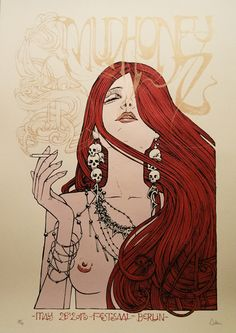 smoking hot woman.  The smoke coming from her mouth spells out the words mudhoney