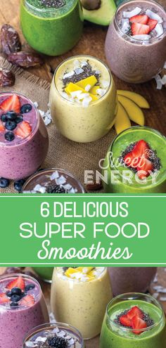 Six superfood smoothie recipes that taste great and give your body essential nutrients to make it an amazing day. Healthy Fruits, Healthy Smoothies, Healthy Snacks, Healthy Eating, Healthy Recipes, Superfood Smoothies, Green Smoothies, Ketogenic Recipes, Healthy Drinks