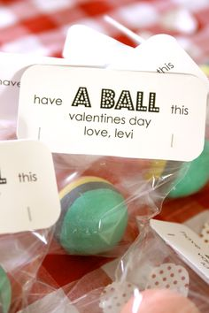Non Candy Valentine gift for school -I actually thought it was a ball of homemade play dough, which I thought was brilliant, but not sure what the teachers would think.