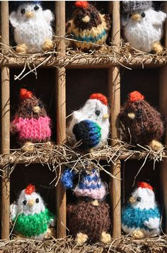 Tiny chickens learn to knit! By The Happy Cupcake