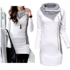 Damen-Longshirt Strickpullover, Tunika Langarm Pullover Pulli Top in Weiß 34-40