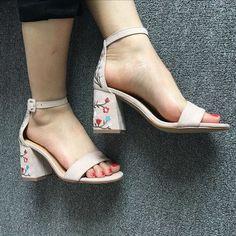 ac4fe507f0b6 Classic Embroidery Chunky Heel Sandals