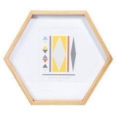 Cadre photo hexagonal en bois 26 x 30 cm VINTAGE