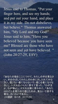 """Jesus said to Thomas, """"Put your finger here, and see my hands; and put out your hand, and place it in my side. Do not disbelieve, but believe."""" Thomas answered him, """"My Lord and my God!"""" Jesus said to him, """"Have you believed because you have seen me? Blessed are those who have not seen and yet have believed. """"(John 20:27-29, ESV)「あなたの指をここにつけて、わたしの手を見なさい。手をのばしてわたしのわきにさし入れてみなさい。信じない者にならないで、信じる者になりなさい」。 トマスはイエスに答えて言った、「わが主よ、わが神よ」。 イエスは彼に言われた、「あなたはわたしを見たので信じたのか。見ないで信ずる者は、さいわいである」。…"""