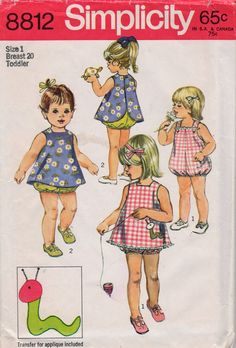 Simplicity 8812 1970s Toddlers Playsuit and Pinafore  vintage sewing pattern by mbchills
