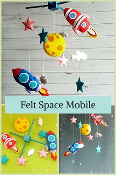Handmade felt space baby mobile for the nursery from Etsy. #Affiliate #nursery #Etsy #mobile #felt #nurserydecor