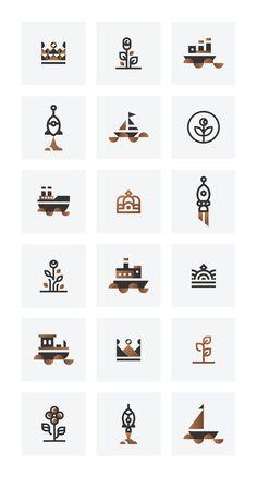 Icons & Vectors on Behance #logo #icons #logos #minimal #minimalism #behance #dribbble #creativemarket #boat #flower #plant #rocket #elegant #luxury #logo #designer #branding