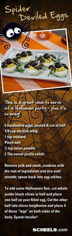 Halloween party idea: Spider Deviled Eggs. So easy and fun! // Recipe from #Scheels Gramma Ginna's Deli #recipes #Halloween