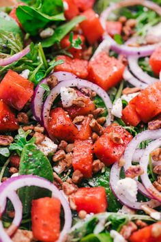 Fruit is the perfect combination for a salad and this Easy Watermelon Feta Salad is proof of that. So lite and flavorful with a creamy balsamic dressing, this will be a great side to any meal. Watermelon Feta Salad Recipes, Grilled Watermelon, Kale Salads, Arugula Salad Recipes, Food Salad, Kitchen Recipes, Cooking Recipes, Healthy Recipes, Feta Salat